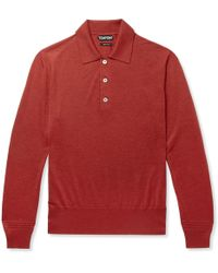 Tom Ford - Slim-fit Cashmere And Silk-blend Polo Shirt - Lyst