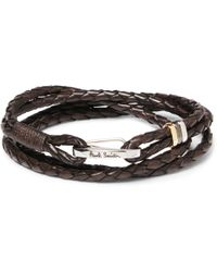 Paul Smith - Woven Leather Wrap Bracelet - Lyst