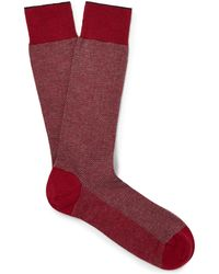 Ermenegildo Zegna - Herringbone Cotton-blend Socks - Lyst