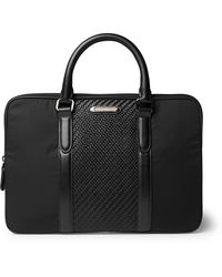 Ermenegildo Zegna Pelletessuta Leather And Nylon Briefcase - Black