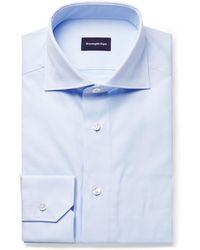 Ermenegildo Zegna - Light-blue Cutaway-collar Puppytooth Cotton Shirt - Lyst
