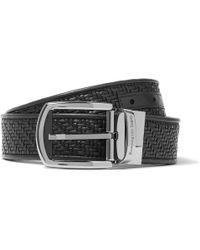 Ermenegildo Zegna - 3.5cm Black Pelle Tessuta Leather Belt - Lyst