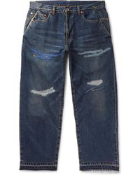 Beams Plus - Embroidered Distressed Denim Jeans - Lyst