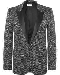 Saint Laurent - Silver Slim-fit Sequinned Woven Blazer - Lyst
