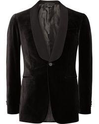 Dunhill - Dark-brown Slim-fit Grosgrain-trimmed Cotton-velvet Tuxedo Jacket - Lyst