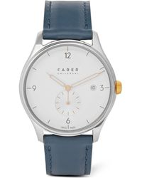Farer   Meakin Stainless Steel And Leather Watch   Lyst