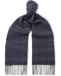 Hackett - Fringed Checked Cashmere Scarf - Lyst