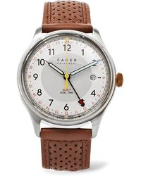 Farer   Barnato Ii Gmt Stainless Steel And Leather Watch   Lyst
