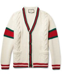 Gucci - Stripe-trimmed Cable-knit Wool Cardigan - Lyst