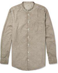 Massimo Alba - Slim-fit Grandad-collar Watercolour-dyed Striped Cotton Shirt - Lyst