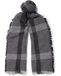 Begg & Co - Beaufort Fringed Checked Wool And Cashmere-blend Scarf - Lyst