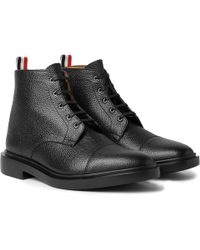 Thom Browne | Cap-toe Pebble-grain Leather Boots | Lyst