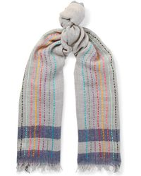 Paul Smith - Embroidered Striped Wool Scarf - Lyst