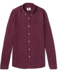 NN07 - Falk Slim-fit Button-down Collar Garment-dyed Woven Shirt - Lyst