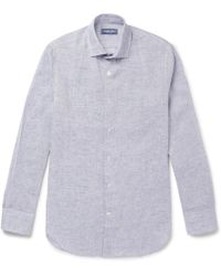 Frescobol Carioca - Slim-fit Cutaway-collar Mélange Linen Shirt - Lyst