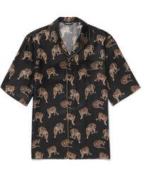 Dolce & Gabbana - Camp-collar Printed Silk-twill Shirt - Lyst