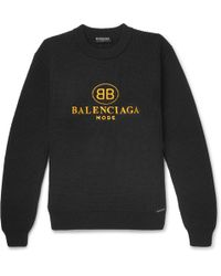 Balenciaga - Embroidered Ribbed Cotton Jumper - Lyst