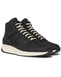Common Projects - Track Vintage Nubuck And Mesh High-top Trainers - Lyst