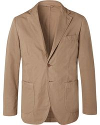 Aspesi - Tan Slim-fit Unstructured Garment-dyed Cotton Blazer - Lyst