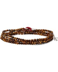 Isaia - Saracino Tiger's Eye And Sterling Silver Beaded Wrap Bracelet - Lyst