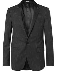 Lanvin - Black Slim-fit Suede And Felt-trimmed Stretch-wool Blazer - Lyst