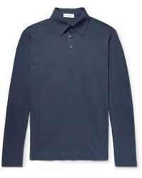 Richard James - Slim-fit Mélange Cotton-jersey Polo Shirt - Lyst