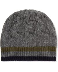 Private White V.c. - Stripe-trimmed Cable-knit Cashmere Beanie - Lyst