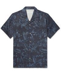 Officine Generale - Dario Camp-collar Printed Cotton Shirt - Lyst