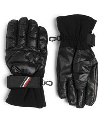Moncler Grenoble - Shell, Leather And Jersey Down Ski Gloves - Lyst