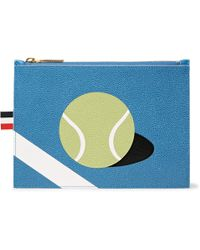 Thom Browne - Tennis Ball-patterned Pebble-grain Leather Pouch - Lyst