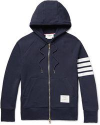 Thom Browne - Striped Loopback Cotton-jersey Zip-up Hoodie - Lyst