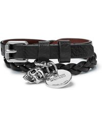 Alexander McQueen - Woven Leather And Silver-tone Wrap Bracelet - Lyst