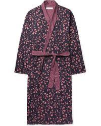 Desmond & Dempsey | Printed Cotton-sateen Robe | Lyst