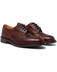 Tricker's - Bourton Burnished Pebble-grain Leather Wingtip Brogues - Lyst