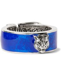 Gucci - Enamelled Sterling Silver Ring - Lyst