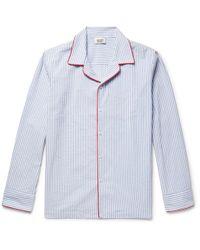 Sleepy Jones   Henry Striped Textured-cotton Pyjama Shirt   Lyst