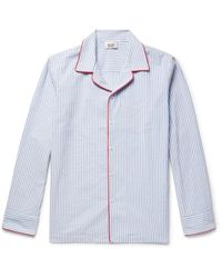 Sleepy Jones - Henry Striped Textured-cotton Pyjama Shirt - Lyst