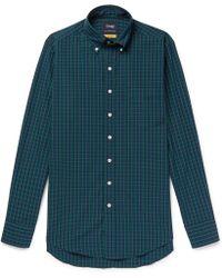 Drake's - Slim-fit Button-down Collar Black Watch Checked Cotton Shirt - Lyst