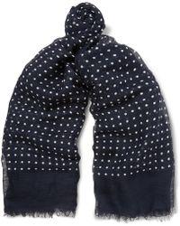 Drake's - Polka-dot Modal, Linen And Silk-blend Scarf - Lyst