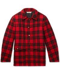 Wool Lyst Blouson Aspesi Checked Fleece Jacket zTwqB5Xq
