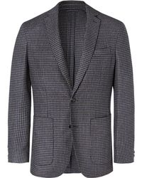 Hackett - Grey Unstructured Dogtooth Wool And Silk-blend Blazer - Lyst