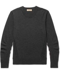 Burberry - Check-panelled Merino Wool Jumper - Lyst