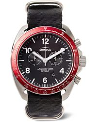 Shinola - - The Rambler Tachymeter Chronograph 44mm Stainless Steel And Webbing Watch - Black - Lyst