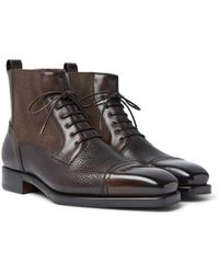 Ermenegildo Zegna - Panelled Leather Cap-toe Boots - Lyst