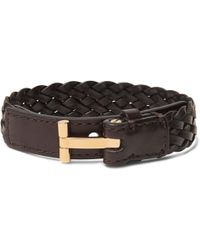 Tom Ford | Woven Leather And Gold-tone Bracelet | Lyst