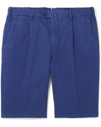 Loro Piana - Slim-fit Pleated Cotton And Linen-blend Bermuda Shorts - Lyst