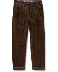 Polo Ralph Lauren - Wide-leg Pleated Stretch-cotton Corduroy Trousers - Lyst