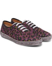 Marc Jacobs - Lenny Leather-trimmed Leopard-print Canvas Trainers - Lyst