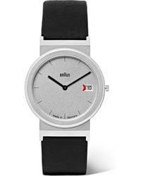 Braun - Aw 50 Brushed Stainless Steel And Leather Watch - Lyst