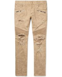 Balmain - Skinny-fit Distressed Camouflage-print Stretch-denim Biker Jeans - Lyst